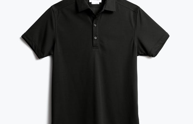 men's black apollo polo shot of front