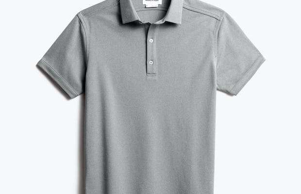 men's charcoal heather apollo polo shot of front