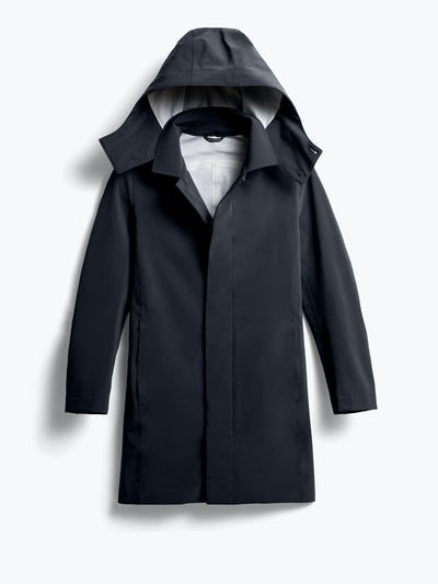 men's black doppler mac raincoat shot of front