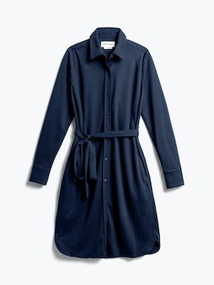 Womens Navy Apollo Shirt Dress - Front