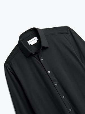 Men's Black Brushed Apollo Dress Shirt close up
