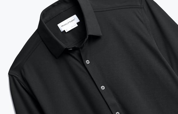 Men's Black Brushed Apollo Dress Shirt close up