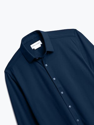 Close up of Mens Navy Blue Brushed Apollo Dress Shirt - Front
