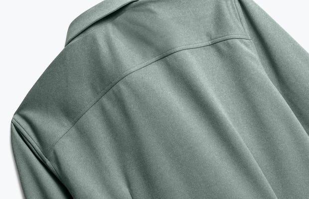Back of Men's Apollo Dress Shirt in Olive heather close up