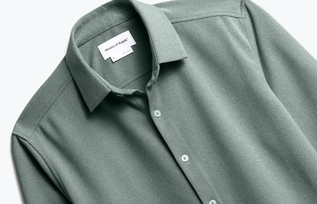 Front of Men's Apollo Dress Shirt in Olive heather close up