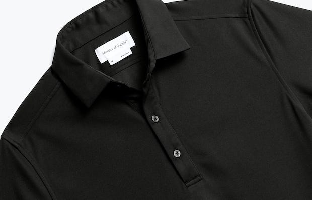 Close up of Mens Black Apollo Polo - Front