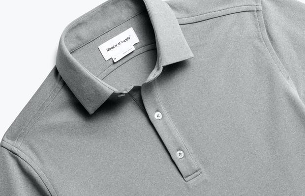 Close up of Mens Charcoal Heather Apollo Polo - Front