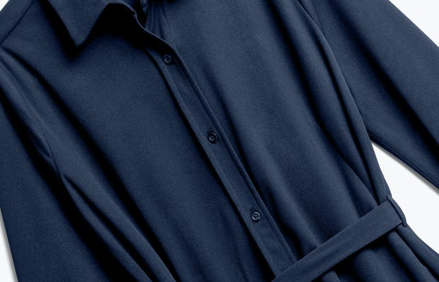 Close up of Womens Navy Apollo Shirt Dress - Front