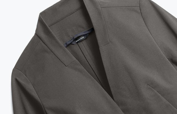Close up of Womens Charcoal Heather Kinetic Blazer - Front
