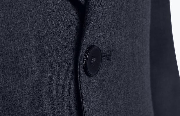 Close up of Men's Navy Velocity Suit Jacket on Model