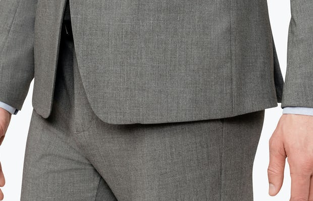 Close up of Men's Grey Velocity Suit Jacket on model facing left