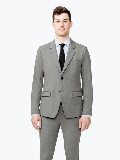 Men's Grey Velocity Suit Jacket on model facing forward