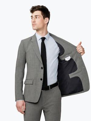 Men's Grey Velocity Suit Jacket on model facing forward showing inside of jacket