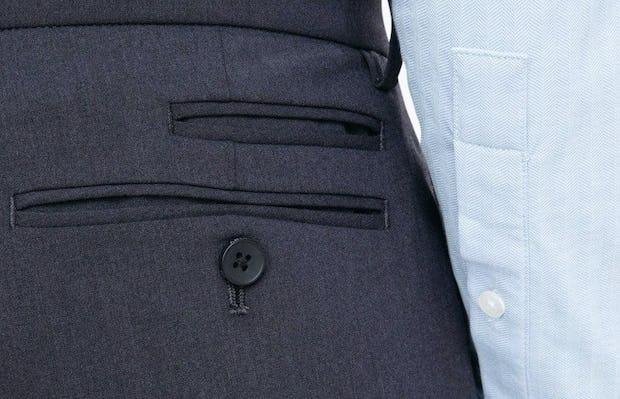 close up of back pocket of Men's Navy Velocity Dress Pant
