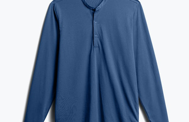 Men's Cadet Blue Composite Merino Henley front view