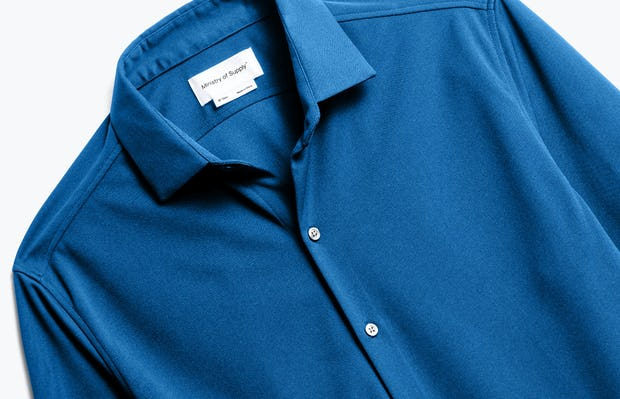 Close up of Men's Royal Blue Recycled Apollo Dress Shirt front