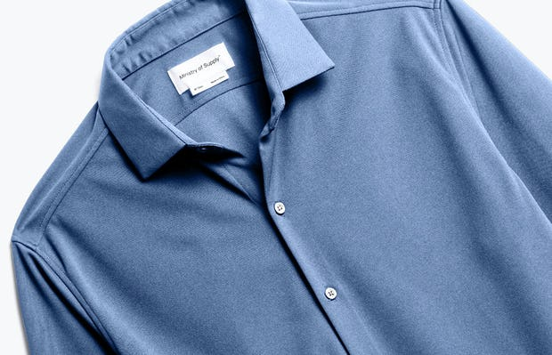 Close up of Men's Steel Blue Recycled Apollo Dress Shirt front