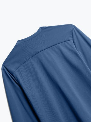 Close up of Men's Cadet Blue Recycled Composite Merino Henley back