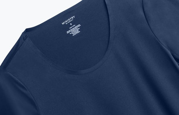 Close up of Women's Navy Luxe Touch Tee front