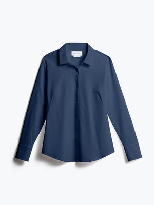 Women's Navy Juno Recycled Tailored Shirt front view