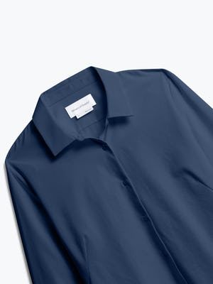 Close up of Women's Navy Juno Recycled Tailored Shirt front