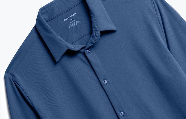 Close up of Men's Cadet Blue Composite Merino Shirt front