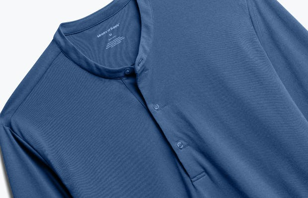 Close up of Men's Cadet Blue Recycled Composite Merino Henley front