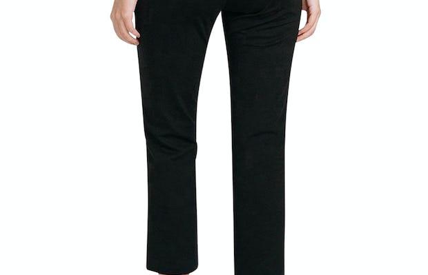 Women's Black Skinny Crop Kinetic Pants on Model standing backwards