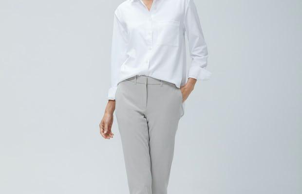 Womens  Light Khaki Momentum Chino and White Aero Zero Boyfriend Shirt - On Model