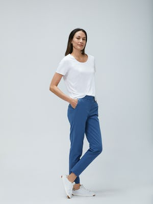 Womens Storm Blue Momentum Chino and White Luxe Touch Tee - On Model