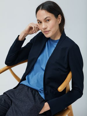Womens Navy Kinetic Blazer and Storm Blue Composite Merino and Navy Tweed Fusion Pull On Pant - On Model