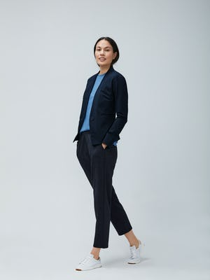 Womens Navy Kinetic Blazer and Storm Blue Composite Merino and Navy Tweed Fusion Pull On Pant - On Model 2