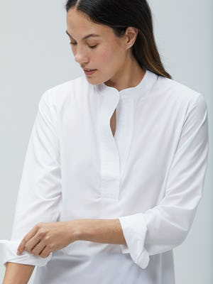 Womens White Juno Popover - On Model