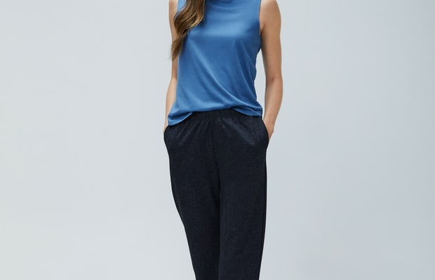 Womens Navy Tweed Fusion Pull On Pant and Storm Blue Composite Merino Tank - On Model
