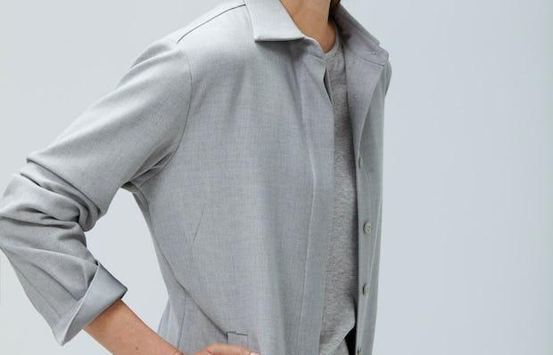 Womens Sandstone Fusion Overshirt - On Model