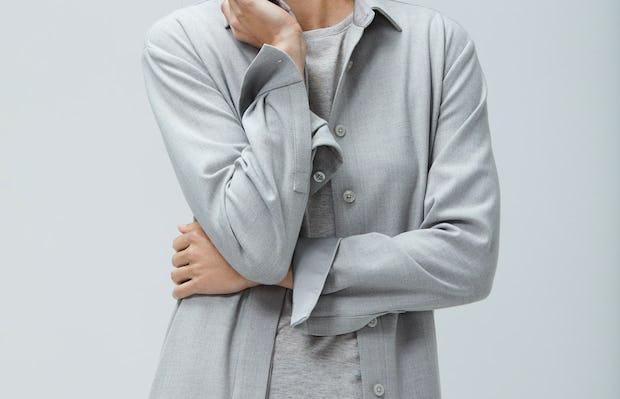Womens Sandstone Fusion Overshirt - On Model 2
