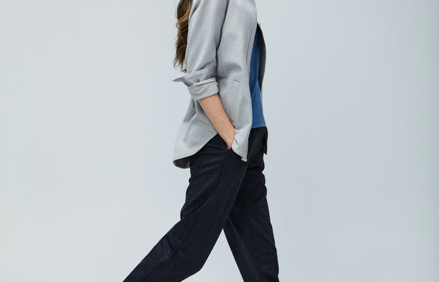 Womens Sandstone Fusion Overshirt and Navy Tweed Fusion Pull On Pant - On Model