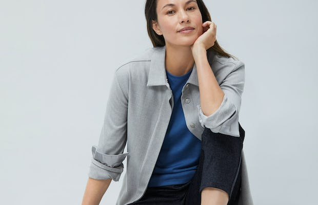 Womens Sandstone Fusion Overshirt and Storm Blue Composite Merino Tank and Navy Tweed Fusion Pull On Pant - On Model