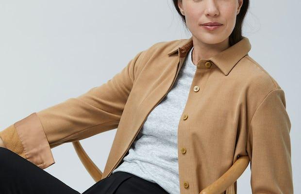 Womens Camel Fusion Overshirt and Light Grey Composite Merino Tee and Black Swift Drape Pant - On Model