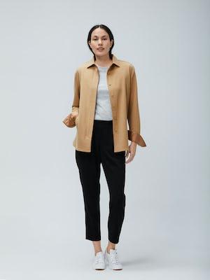 Womens Camel Fusion Overshirt and Light Grey Composite Merino Tee and Black Swift Drape Pant - On Model 2