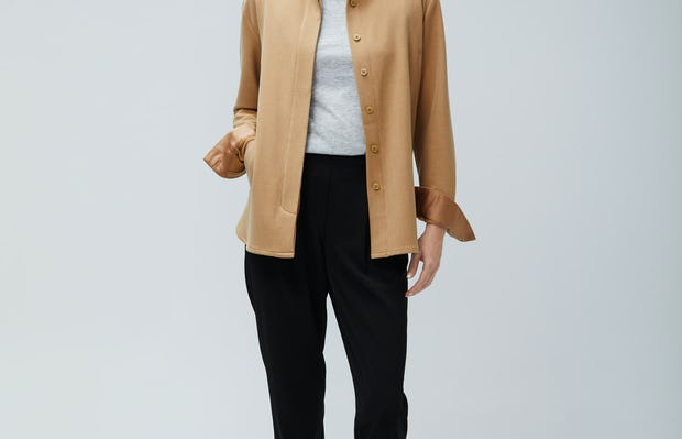 Womens Camel Fusion Overshirt and Light Grey Composite Merino Tee and Black Swift Drape Pant - On Model 2