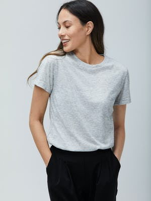 Women's Light Grey Composite Merino Tee - On Model