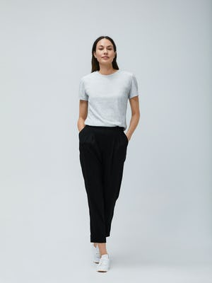 Women's Light Grey Composite Merino Tee and Black Swift Drape Pant - On Model