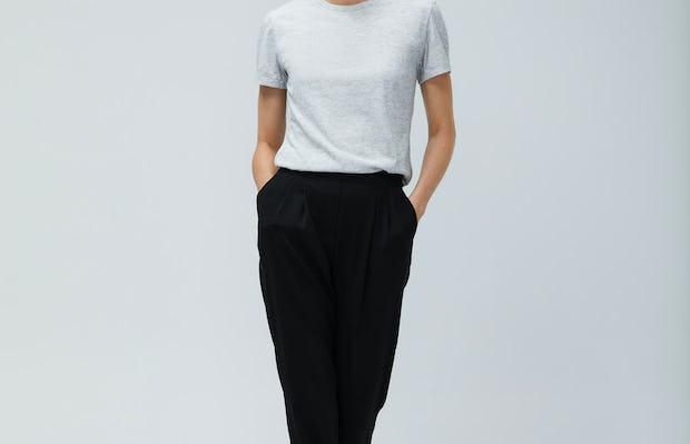 Women's Light Grey Composite Merino Tee and Black Swift Drape Pant - On Model