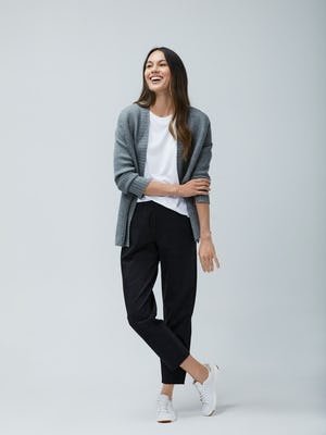 Womens Light Grey Composite Merino Cardigan and Grey Glen Plaid Fusion Pull On Pant and White Luxe Touch Tank - On Model