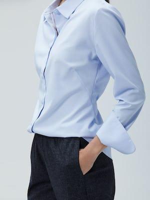 Womens Light Blue Aero Zero Shirt and Navy Tweed Fusion Pull On Pant - On Model