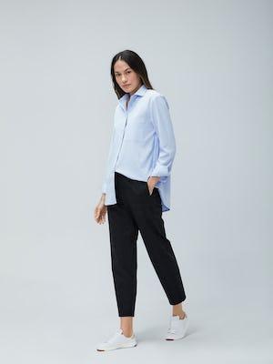 Womens Blue Aero Zero Boyfriend Shirt and Grey Glen Plaid Fusion Pull On Pant - On Model 2