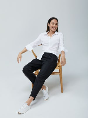 Womens White Juno Recycled Tailored and Grey Glen Plaid Fusion Pull On Pant - On Model
