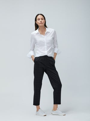 Womens White Juno Recycled Tailored and Grey Glen Plaid Fusion Pull On Pant - On Model 2