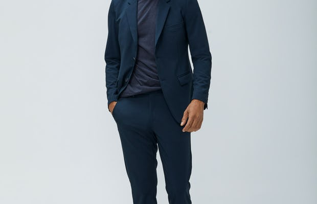 Mens Navy Velocity Blazer and Navy Velocity Pant and Navy Composite Merino Tee - On Model